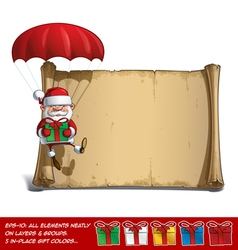 Happy Santa Scroll Parachute Holding a Gifts vector image vector image