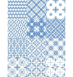 Set of seamless patterns in blue vector image