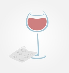 Wine and tablets minimal symbols Headache from vector image vector image