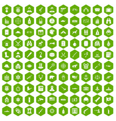 100 bullet icons hexagon green vector image