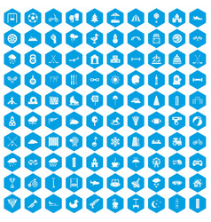 100 kids games icons set blue vector image