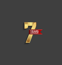 7 years anniversary simple design with golden vector