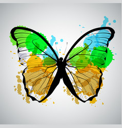 Art sketched colorful butterfly symbol in vector