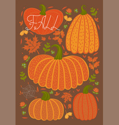 autumn card with pumpkins and leaves vector image