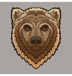 Bear head in mosaic style vector