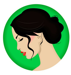 Beautiful woman with retro hairstyle and nice vector