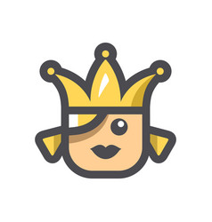 beauty queen with crown icon cartoon vector image