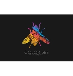 Bee logo color bee logo bee symbol vector