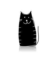black cat silhouette sketch for your design vector image