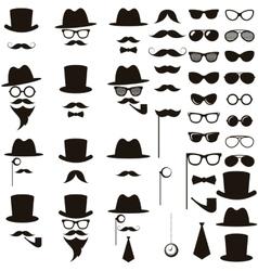 Black retro gentleman icons set vector image