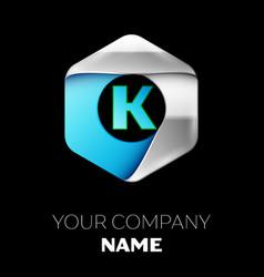 blue letter k logo in the silver-blue hexagonal vector image