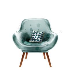 blue retro armchair watercolor design vector image