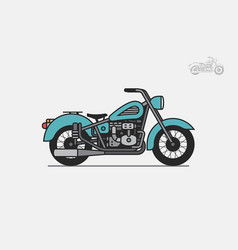 Blue vintage motorcycle vector