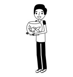 boy holding goldfish on bowl vector image