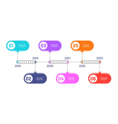 business timeline 6 process steps horizontal vector image