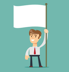 businessman holds white flag hand holding blank vector image