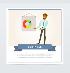 businessman making presentation and explaining vector image