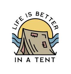 camping adventure logo emblem vintage outdoor vector image