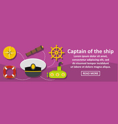 captain of the ship banner horizontal concept vector image