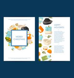 Card or flyer templates set with cartoon vector
