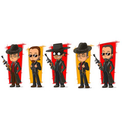 cartoon criminal mafiosi with gun character set vector image