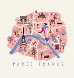 cartoon map paris with legend icons vector image