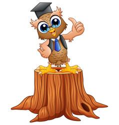Cartoon wise owl in graduat vector