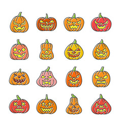 carving face halloween pumpkin icon set vector image