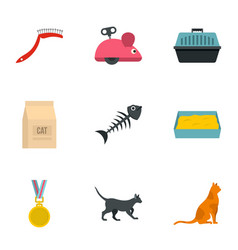 Cat things icons set cartoon style vector