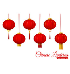 chinese traditional hanging red lanterns vector image