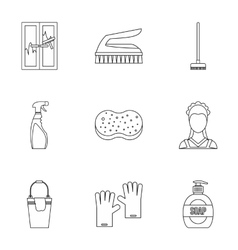 Cleansing icons set outline style vector