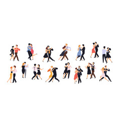 Collection pairs dancers isolated on white vector