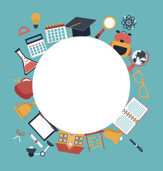 Color background with circular frame empty and set vector