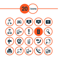 Connection icons set with mobile data exchange vector
