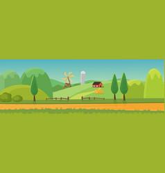 cute rural landscape panorama with farm cartoon vector image