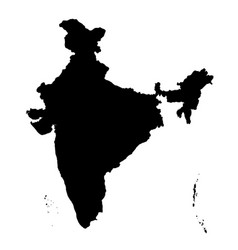 Detailed flat black map of india asia vector