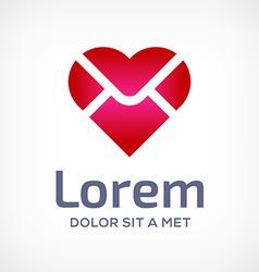 E-mail envelope heart logo icon vector image