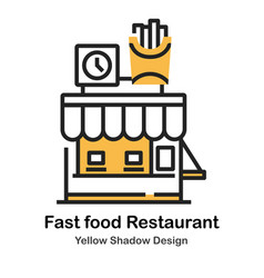 fast food restaurant lineal color vector image