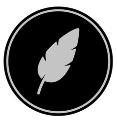 feather black coin vector image