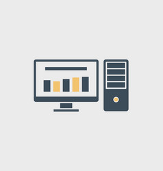 Flat computer icon with two colors vector