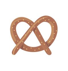 Fresh baked brown pretzel cartoon flat food vector