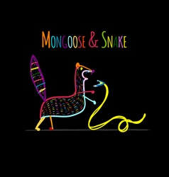 Funny mongoose colorful on black sketch for your vector