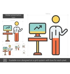 Global presentation line icon vector
