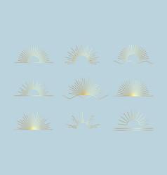 gold sun set linear boho icons and symbols vector image