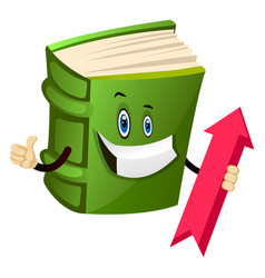 Green book is holding an up arrow on white vector