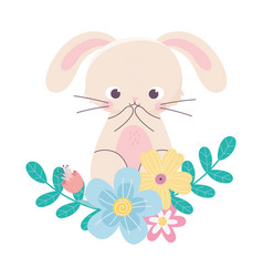happy easter cute rabbit flowers leaves nature vector image