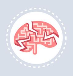 headache migraine logo human brain cracks icon vector image