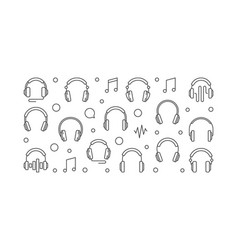 Headphones horizontal banner outline vector