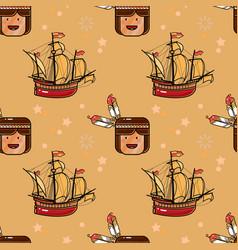 Injun and sailing ship seamless pattern vector