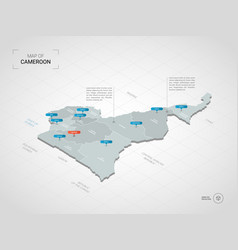 isometric cameroon map with city names and vector image